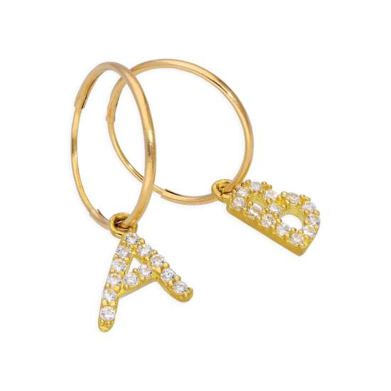 Mix n Match 9ct Gold CZ Crystal Initial Letter 10mm Charm Hoop Earrings