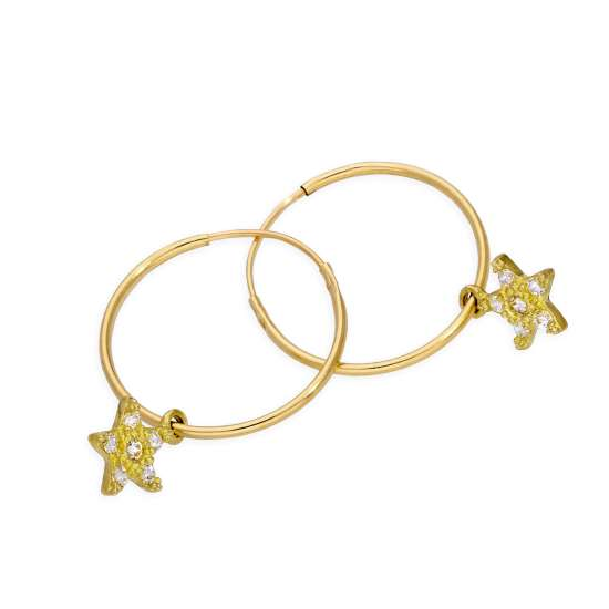 9ct Gold 10mm Charm Hoop CZ Star Earrings