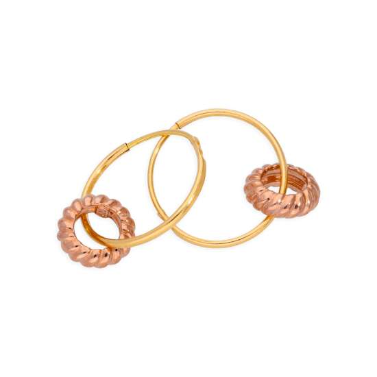 9ct Gold 10mm Charm Hoop 9ct Rose Gold Karma Circle Earrings