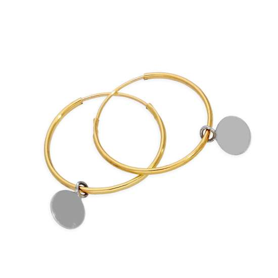 9ct Gold 13mm Charm Hoop Earrings with Tiny 9ct White Gold Circle Tags