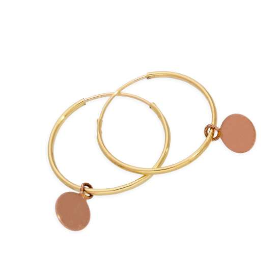 9ct Gold 13mm Charm Hoop Earrings with Tiny 9ct Rose Gold Circle Tags