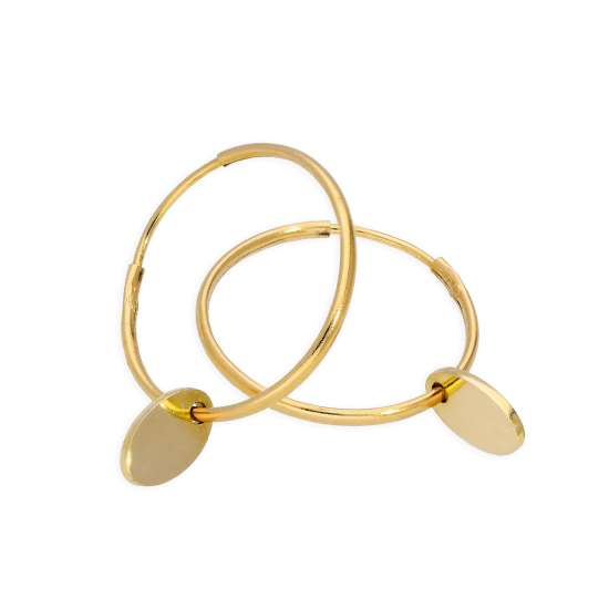 9ct Gold 13mm Charm Hoop Earrings with Tiny Oval Tags