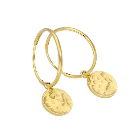 9ct Gold 13mm Charm Hoop Earrings with Hammered Round Discs