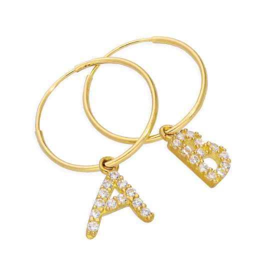 Mix n Match 9ct Gold CZ Crystal Initial Letter 13mm Charm Hoop Earrings