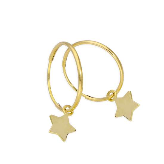 9ct Gold 13mm Charm Hoop Star Earrings