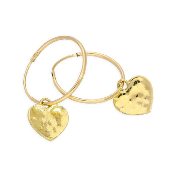 9ct Gold 13mm Charm Hoop Hammered Heart Earrings