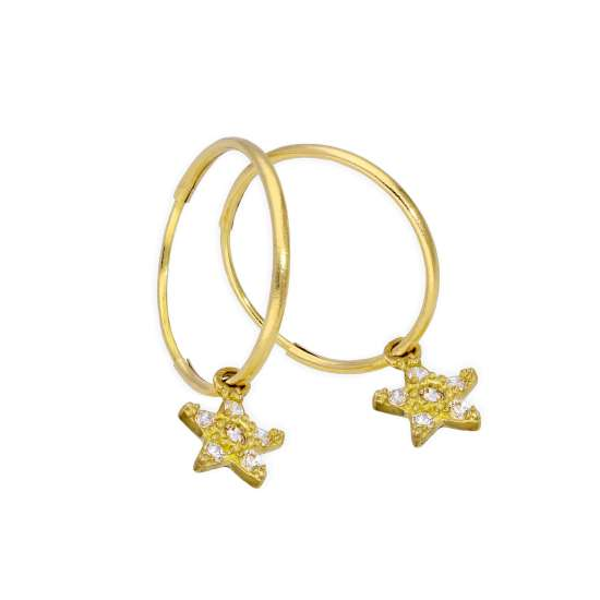 9ct Gold 13mm Charm Hoop CZ Star Earrings