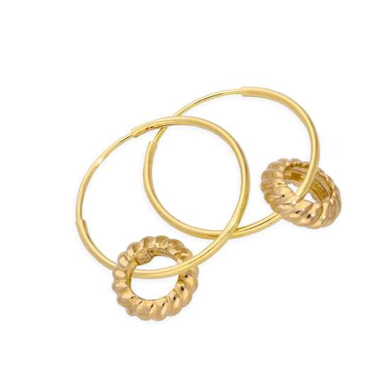 9ct Gold 13mm Charm Hoop Woven Karma Circle Earrings