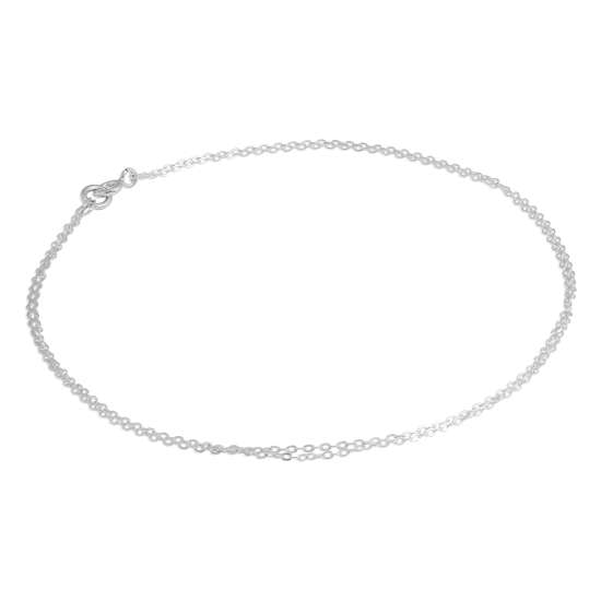 Sterling Silver 1mm Flat Cable 10 Inch Double Chain Anklet