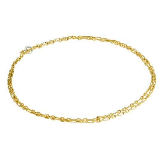 Gold Plated Sterling Silver 2mm Rounded Figaro Double Chain Anklet - 10 Inches