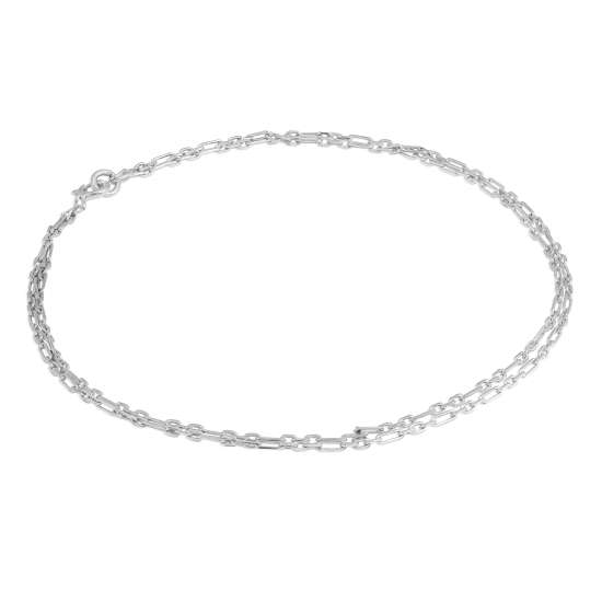 Sterling Silver 2mm Curb Rounded Figaro Double Chain Anklet - 10 Inches