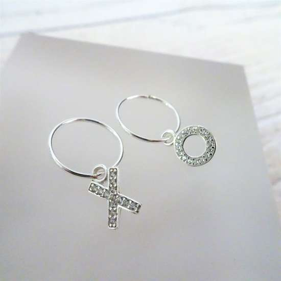 Sterling Silver CZ Crystal Kiss Hug X O 12mm - 22mm Sleeper Hoop Earrings