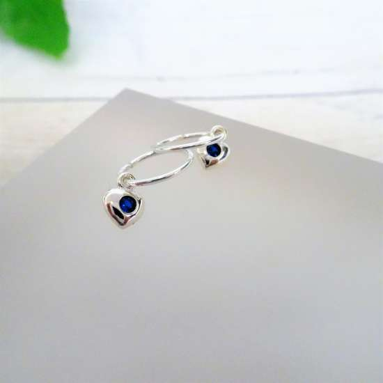 Sterling Silver CZ Crystal Birthstone Heart 10 - 22mm Sleeper Hoop Earrings
