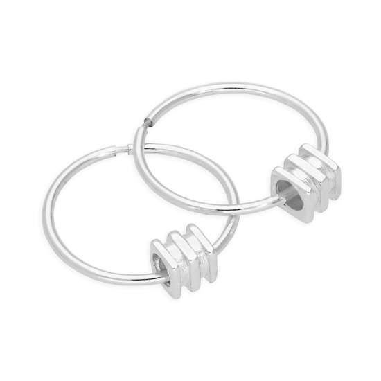 Sterling Silver 4mm Square Bead 14 - 22mm Sleeper Hoop Earrings