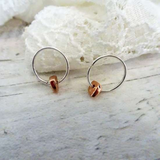Rose Gold Plated Sterling Silver Thin Nugget Bead 12 - 22mm Sleeper Hoop Earrings