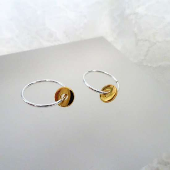 Gold Plated Sterling Silver Polished 1mm Bead 12 - 22mm Sleeper Hoop Earrings