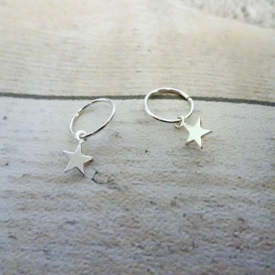 Sterling Silver Tiny Star 10 - 22mm Sleeper Hoop Earrings