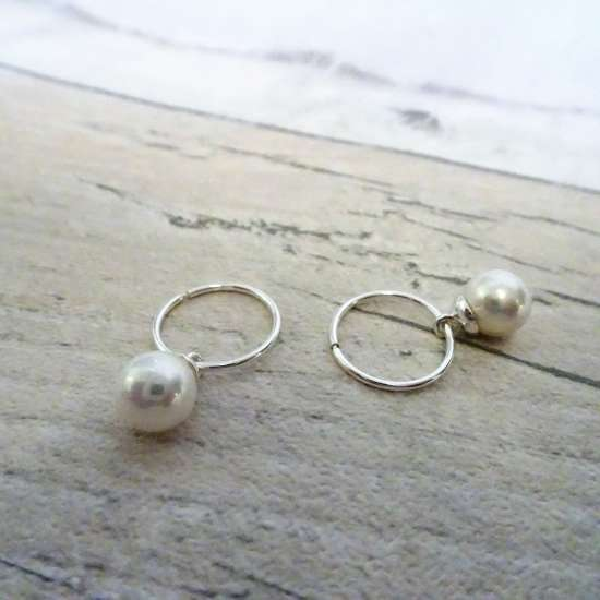 Sterling Silver Pearl 12 - 22mm Sleeper Hoop Earrings