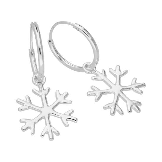 Sterling Silver Snowflake 14mm Hoop Earrings