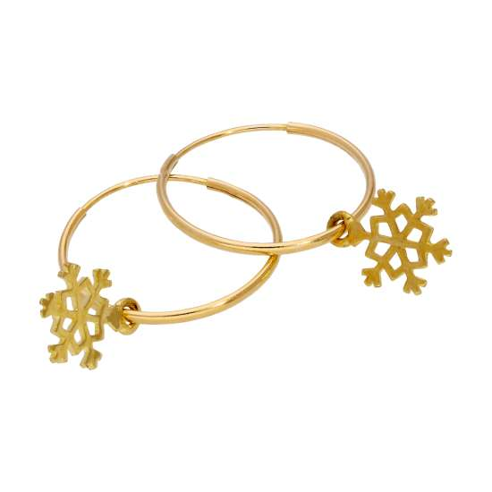9ct Gold Snowflake 13mm Hoop Earrings