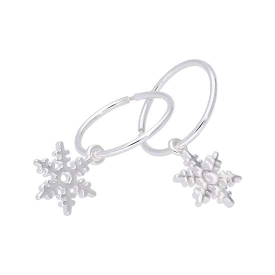 Tiny Sterling Silver Snowflake 14mm Hoop Earrings