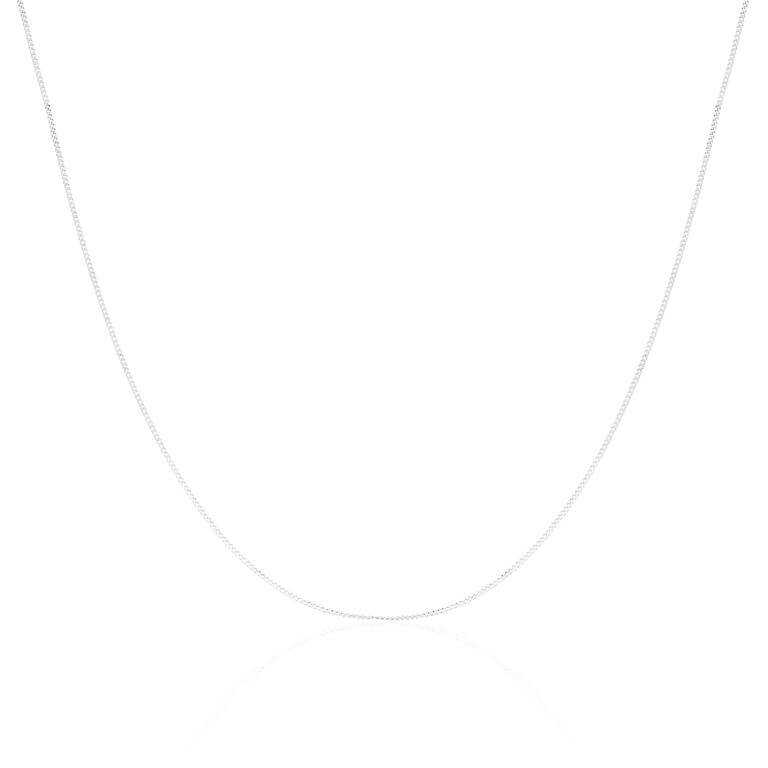 9ct White Gold Diamond Cut Curb Chain 16 - 18 Inches