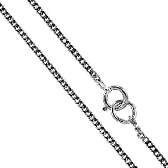 9ct White Gold Diamond Cut Curb Chain 16 - 20 Inches