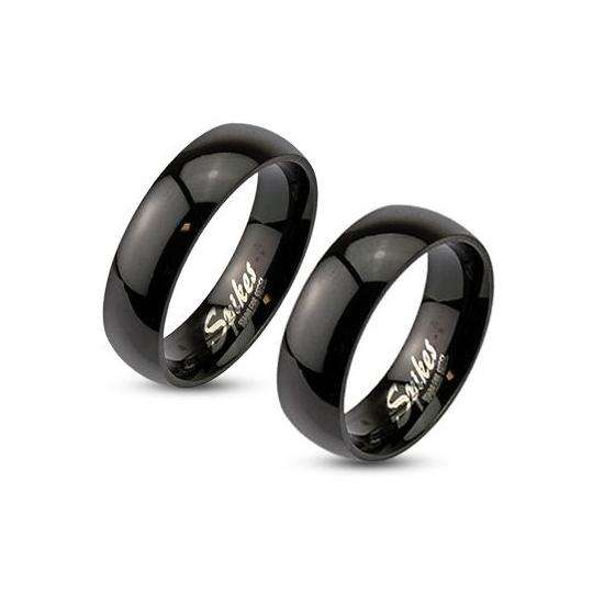 Stainless Steel Mirror Polished Black Dome Ring
