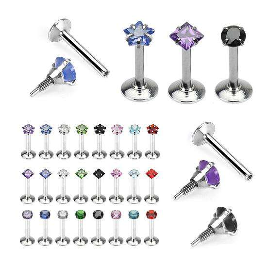 Surgical Steel Crystal Labret Round Square & Star