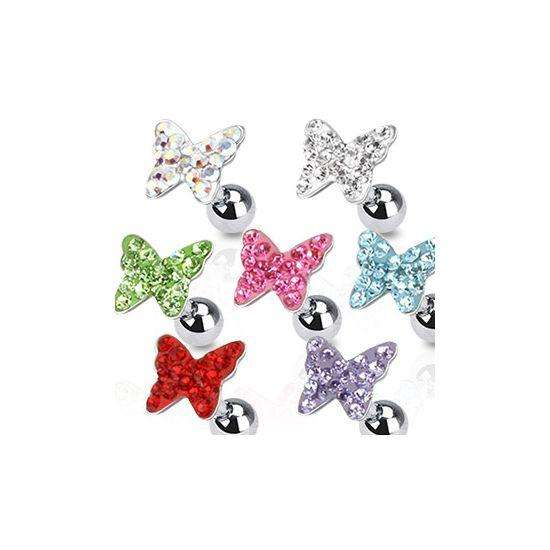 Surgical Steel Crystal Butterfly Tragus Cartilage Top