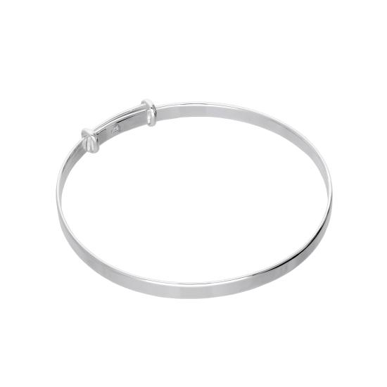 Sterling Silver Plain Adjustable Maiden Bangle