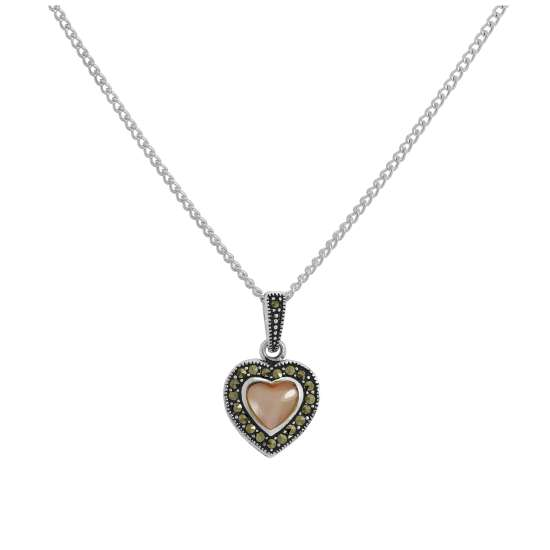 Sterling Silver & Pink Mother of Pearl Heart Pendant with Marcasite on Chain 16 - 24 Inches