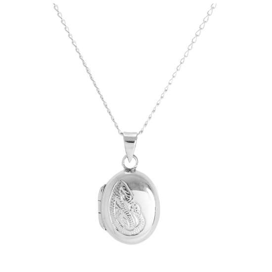 Sterling Silver Small Oval Floral Locket on Chain 14 - 32 Inches