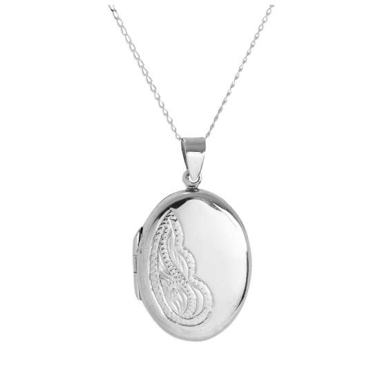Sterling Silver Large Oval Floral Locket on Chain 14 - 32 Inches