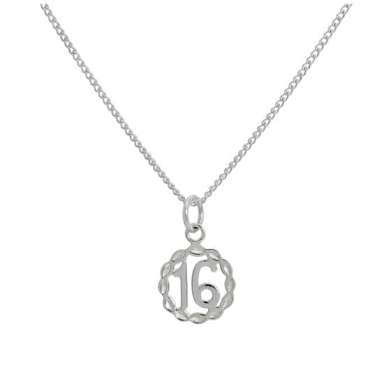Sterling Silver Diamond Cut '16' Pendant Necklace 16 - 24 Inches