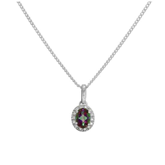 Sterling Silver & Mystic Topaz Pendant with Clear CZ Crystals on Chain 16 - 24 Inches