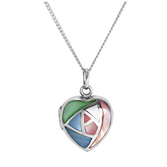 Sterling Silver & Pastel Coloured Mother of Pearl Heart Locket on Chain 16 - 24 Inches