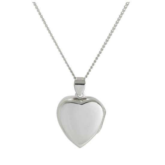 Sterling Silver Plain Heart Locket on Chain 16 - 24 Inches