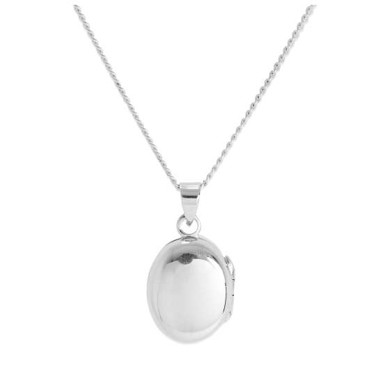 Small Sterling Silver Plain Engravable Oval Locket on Chain 16 - 24 Inches