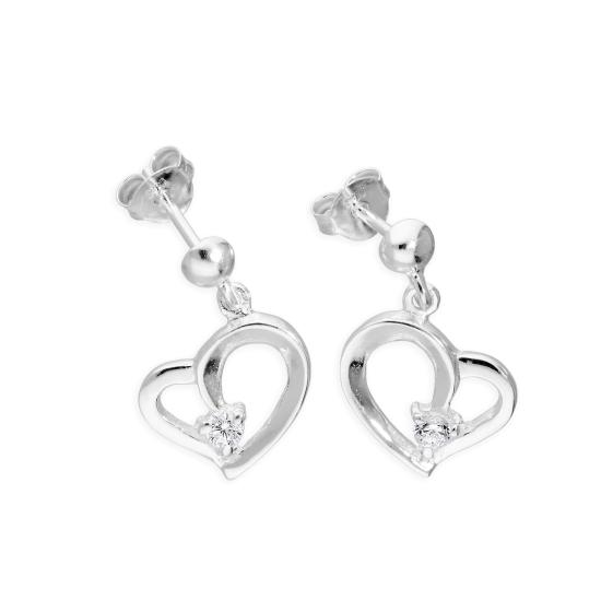 Sterling Silver & Clear CZ Crystal Fancy Swirl Open Heart Dangle Stud Earrings