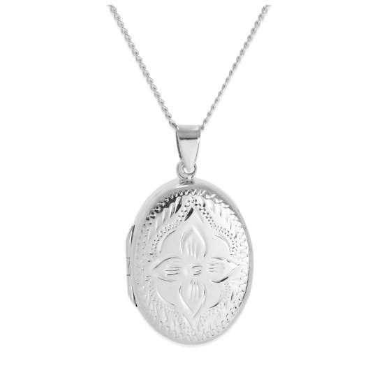 Large Sterling Silver Oval Flower Locket with Zig Zag Frame on Chain 16 - 24 Inches