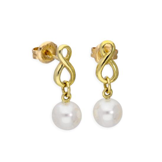 9ct Gold Infinity Symbol Stud Earrings with Freshwater Pearl Drop