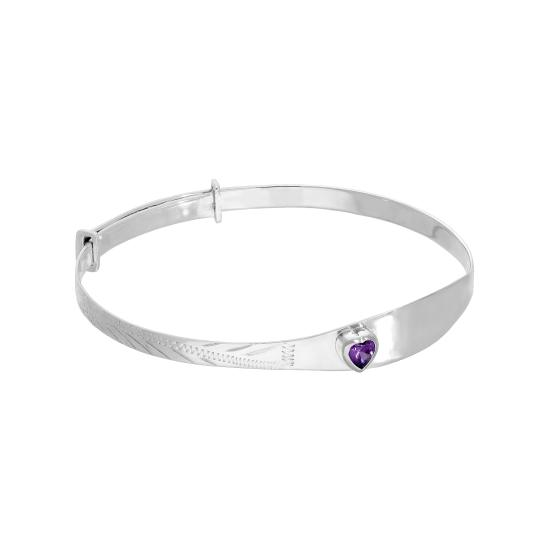 Sterling Silver & Amethyst CZ Crystal Birthstone Heart Maiden Bangle