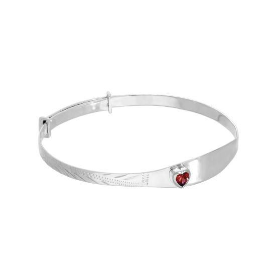 Sterling Silver & Ruby CZ Crystal Birthstone Heart Maiden Bangle