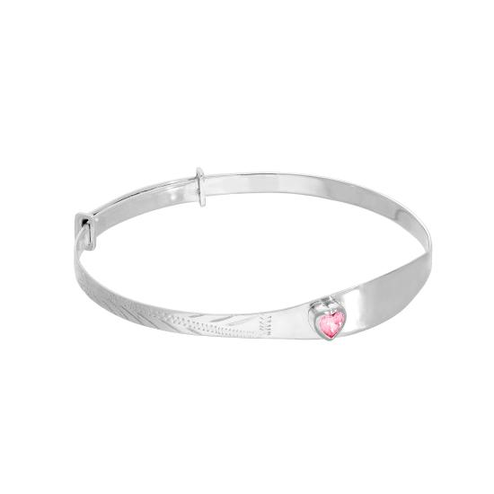 Sterling Silver & Tourmaline CZ Crystal Birthstone Heart Maiden Bangle