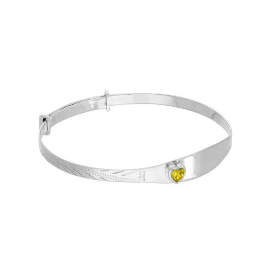 Sterling Silver & Citrine CZ Crystal Birthstone Heart Maiden Bangle