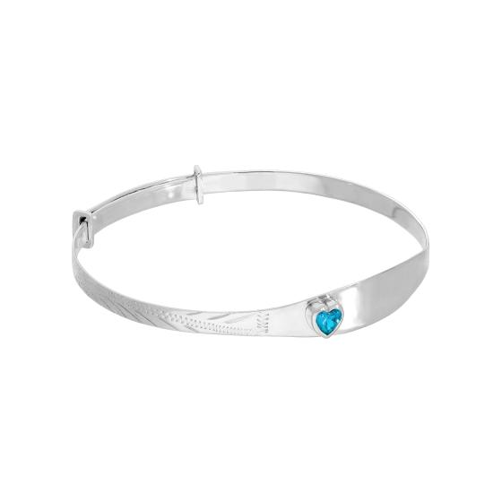 Sterling Silver & Blue Zircon CZ Crystal Birthstone Heart Maiden Bangle