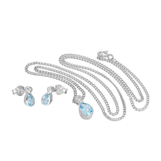 Sterling Silver Sky Blue Topaz & CZ Crystal Teardrop Pendant on 16 - 24 Inches Chain and Earrings Set