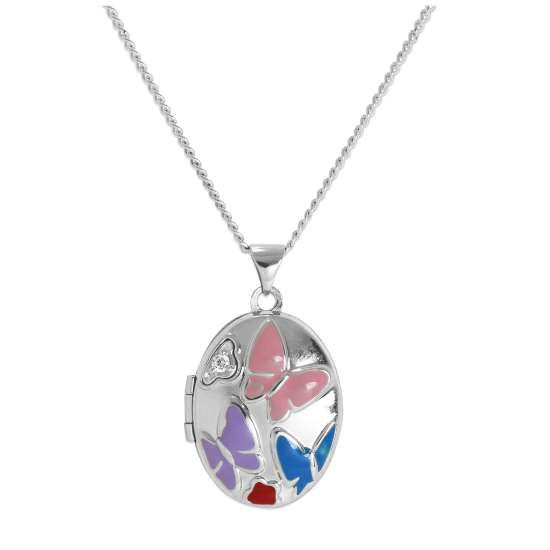 Sterling Silver & Clear CZ Crystal Locket with Coloured Enamel Butterflies on Chain 16 - 24 Inches