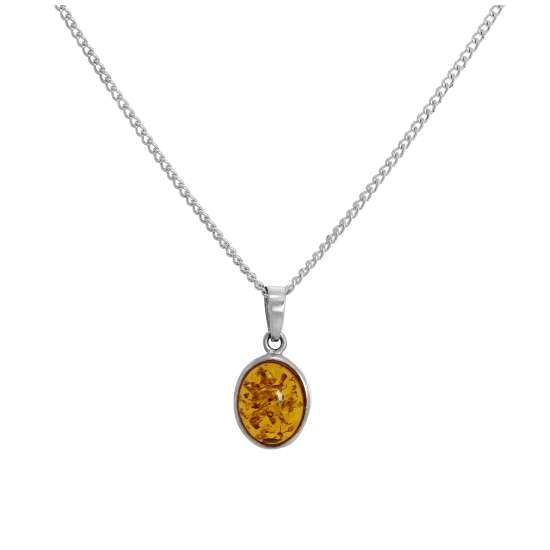 Sterling Silver & Baltic Amber Oval Pendant Necklace 16 - 24 Inches